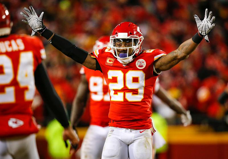 KANSAS CITY, MO - JANUARY 20: Safety Eric Berry #29 of the Kansas City Chiefs celebrates the fourth quarter interception of teammate safety Daniel Sorensen #49 of the Kansas City Chiefs against the New England Patriots in the AFC Championship Game at Arrowhead Stadium on January 20, 2019 in Kansas City, Missouri. (Photo by David Eulitt/Getty Images)