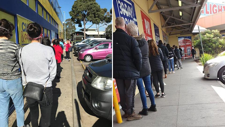 Lines were seen outside both Chemist Warehouse and Spotlight after Victoria's face mask announcement.