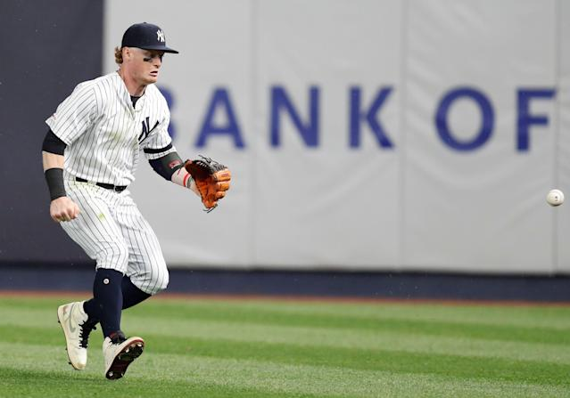 Clint Frazier predictably didn't want to talk about the worst defensive inning of his life. (AP Photo/Kathy Willens)