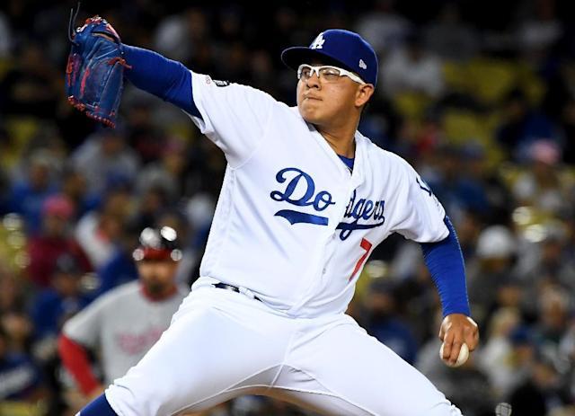 Los Angeles Dodgers hurler Julio Urias pitches in the seventh inning against the Washington Nationals on May 10 (AFP Photo/Jayne Kamin-Oncea)