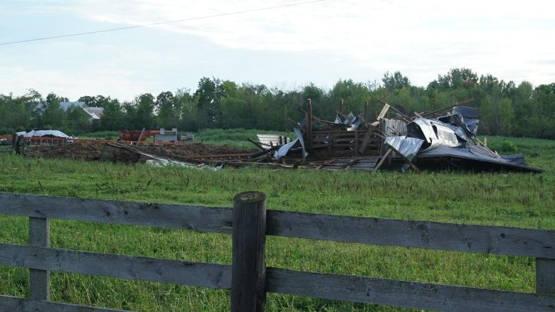 Ontario family's barns blown away in sudden storm