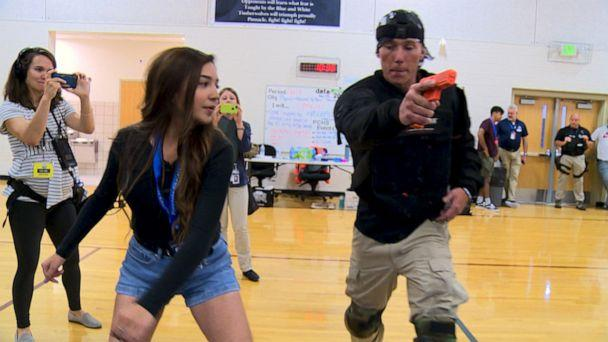 PHOTO: Students at Pinnacle Charter School learn self-defense and how to incapacitate a gunman during active shooter training. (ABC News)