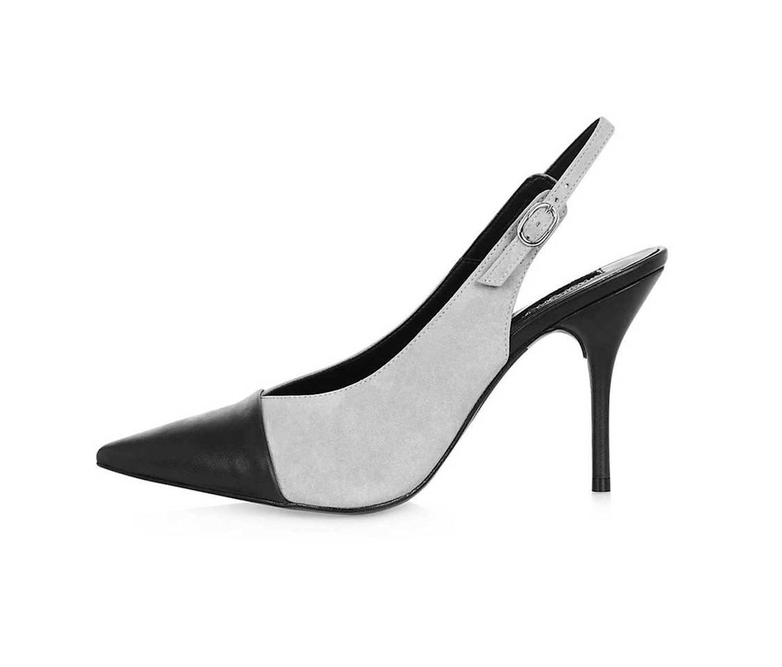"<p>Gloria toe-cap slingback court shoes, $100, <a rel=""nofollow"" href=""http://us.topshop.com/en/tsus/product/shoes-70484/gloria-toecap-slingback-courts-5805018?bi=140&ps=20"">Topshop.com</a>   </p>"