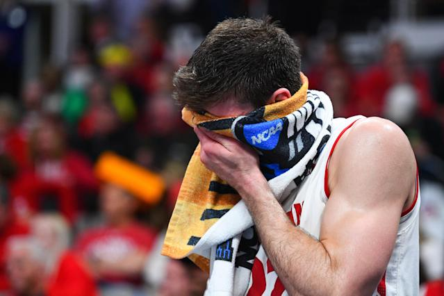 <p>Wisconsin forward Ethan Happ (22) looks on in the final seconds of the game between the Wisconsin Badgers and the Oregon Ducks in their NCAA Division I Men's Basketball Championship first round game on March 22, 2019, at SAP Center at San Jose in San Jose, CA. </p>