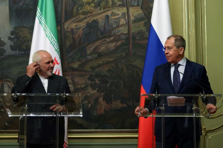 Russian Foreign Minister Sergei Lavrov and his Iranian counterpart Mohammad Javad Zarif meet in Moscow on June 16, 2020 as the United States presses to extend a UN arms embargo on Iran (AFP Photo/Handout)