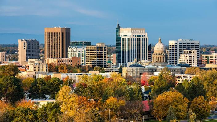 City of trees Boise Idaho with fall colors.
