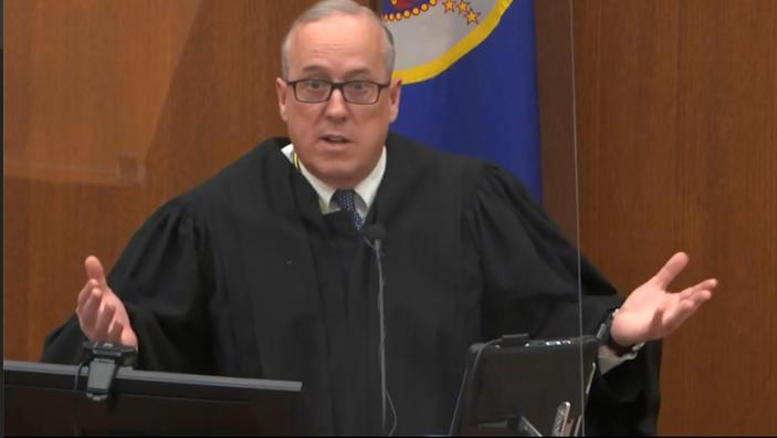 In this image from video, Hennepin County Judge PeterCahill discusses motions before the court Tuesday, April 6, 2021, in the trial of former Minneapolis police Officer Derek Chauvin, in the May 25, 2020, death of George Floyd at the Hennepin County Courthouse in Minneapolis, Minn.