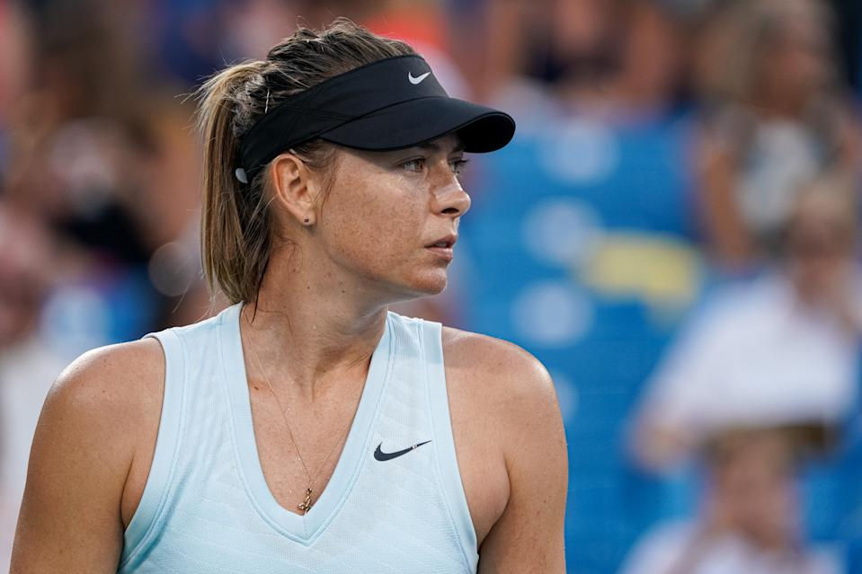 CINCINNATI, OH - AUGUST 12: Maria Sharapova of Russia looks on during the Western & Southern Open at Lindner Family Tennis Center on August 12, 2019 in Mason, Ohio. (Photo by Adam Lacy/Icon Sportswire via Getty Images)