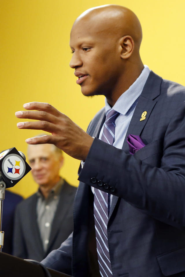 Pittsburgh Steelers Steelers first-round draft selection, linebacker Ryan Shazier, right, 15th overall, from Ohio State answers questions during a news as team president Arthur J. Rooney II, stands near at the headquarters of the NFL football team in Pittsburgh on Friday, May 9, 2014. (AP Photo/Keith Srakocic)