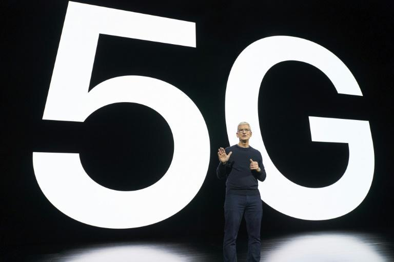 In this photo released by Apple, Apple CEO Tim Cook speaks about 5G during an Apple event at Apple Park in Cupertino, California on October 13, 2020