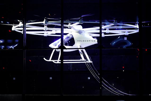 A two-seater Volocopter drone flies on stage at the Intel Keynote address at CES in Las Vegas, Nevada, U.S. January 8, 2018. REUTERS/Rick Wilking