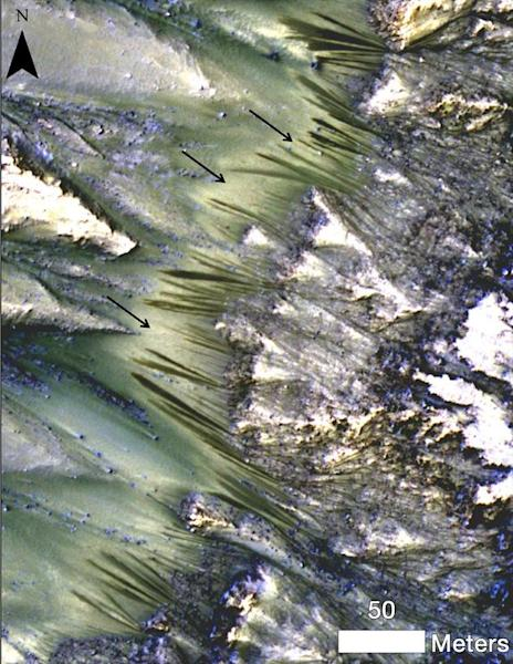 Dark, seasonal flows emanate from bedrock exposures at Palikir Crater on Mars in this image from the High Resolution Imaging Science Experiment (HiRISE) camera on NASA's Mars Reconnaissance Orbiter. Three arrows point to bright, smooth fans lef