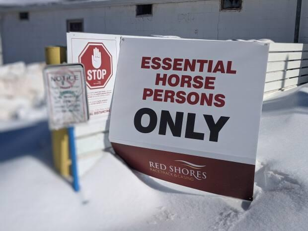 Signage at Red Shores Racetrack aimed at restricting acccess to the barn area.