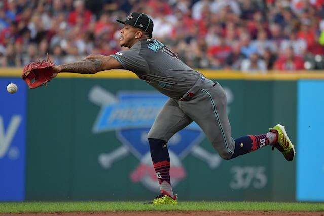 Ketel Marte #4 of the Arizona Diamondbacks participates in the 2019 MLB All-Star Game at Progressive Field on July 09, 2019 in Cleveland, Ohio. (Photo by Jason Miller/Getty Images)