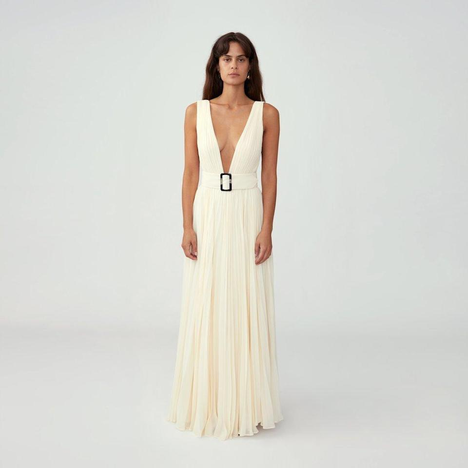 Fame and Partners Pleated Belted Gown (Photo: Fame and Partners)