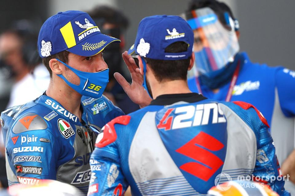 "Ganador Joan Mir, Team Suzuki MotoGP, segundo lugar Alex Rins, Team Suzuki MotoGP<span class=""copyright"">Gold and Goose / Motorsport Images</span>"