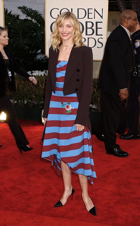 """For the 2002 Golden Globe Awards, Cameron Diaz apparently went into her closet and put on the first two items she saw. Did she borrow that jacket from Bob Cratchit in """"A Christmas Carol""""? Gregg DeGuire/<a href=""""http://www.wireimage.com"""" target=""""new"""">WireImage.com</a> - January 20, 2002"""