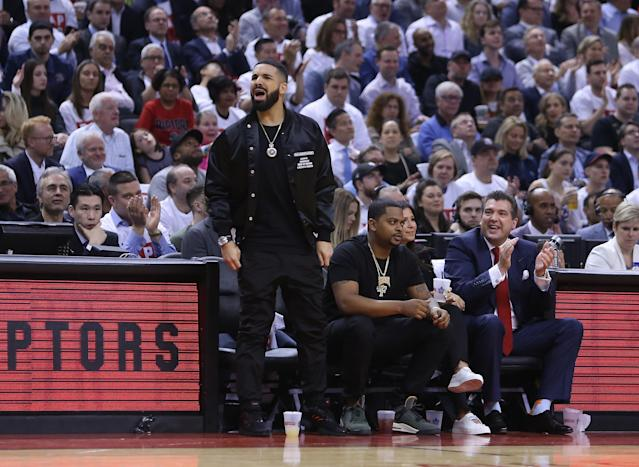 The NBA issued a warning to Drake after his sideline altercation with Kendrick Perkins. (AP Photo)