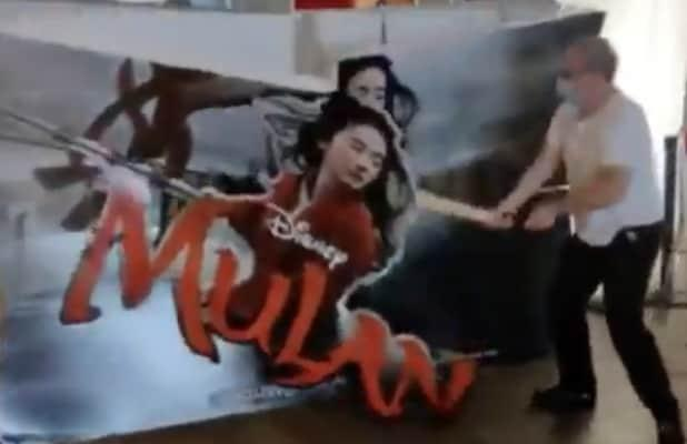'Mulan' Pop-Up Ad Destroyed by Movie Theater Owner After Disney Pulls Film (Video)