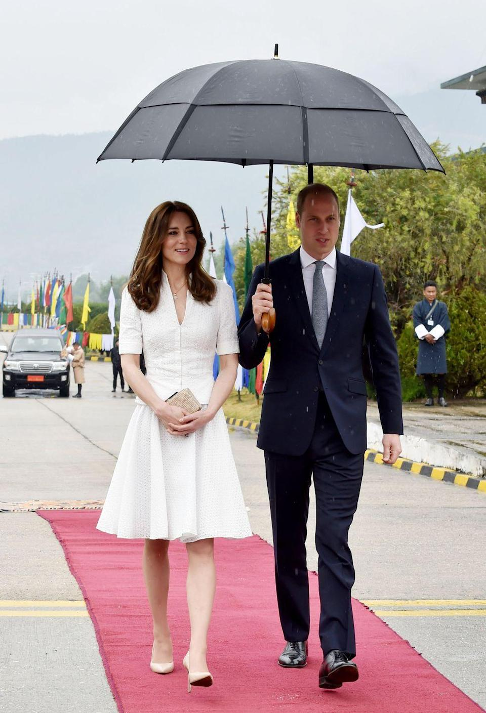 <p>When departing from Bhutan during the couple's tour of India and Bhutan, Kate repeated the dress. </p>