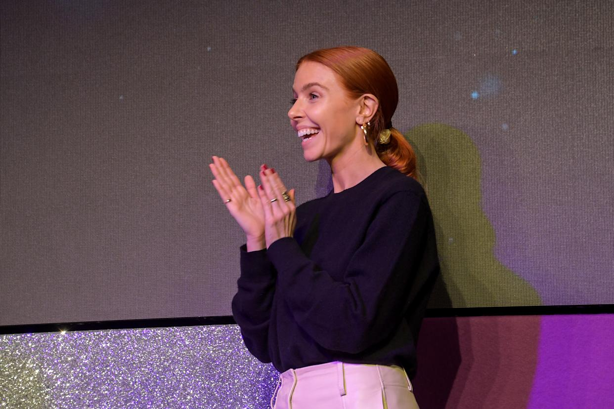 LONDON, ENGLAND - DECEMBER 06:  Stacey Dooley on stage at the Women in Film and TV Awards 2019 at Hilton Park Lane on December 06, 2019 in London, England. (Photo by David M. Benett/Dave Benett/Getty Images for Women in Film and TV)