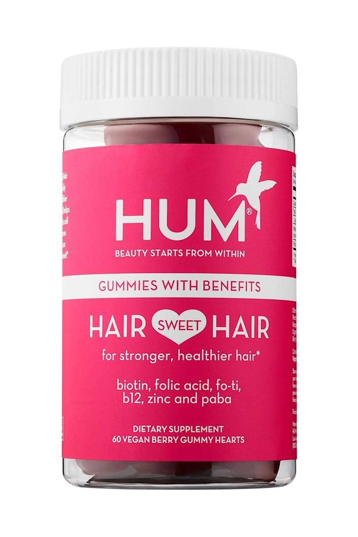"""<p><strong>Hum Nutrition</strong></p><p>neimanmarcus.com</p><p><strong>$26.00</strong></p><p><a href=""""https://go.redirectingat.com?id=74968X1596630&url=https%3A%2F%2Fwww.neimanmarcus.com%2Fp%2Fprod204380540&sref=https%3A%2F%2Fwww.elle.com%2Fbeauty%2Fg31099887%2Fbest-hair-growth-vitamins%2F"""" rel=""""nofollow noopener"""" target=""""_blank"""" data-ylk=""""slk:Shop Now"""" class=""""link rapid-noclick-resp"""">Shop Now</a></p><p>These gummies check off all the boxes: 100% Natural, 100% vegetarian and vegan, GMO-free, gluten-free, and no preservatives. Game-changing ingredients like PABA fight gray hairs and promote natural pigments, while fo-ti (a root used in Chinese medicine) strengthens strands.</p>"""