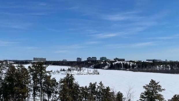 The city of Yellowknife on May 2, 2021. Schools in Yellowknife, Ndilo and Dettah move to remote learning on Monday, May 3, as public health officials grapple with a growing cluster of COVID-19.  (Sara Minogue/CBC - image credit)