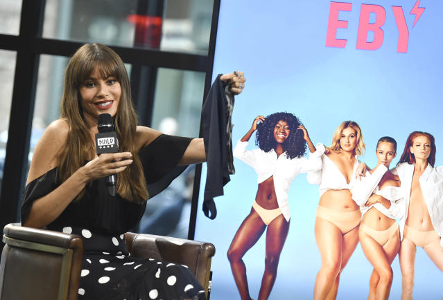 Actress Sofia Vergara participates in the BUILD Speaker Series to discuss her new subscription underwear line, EBY, at AOL Studios on Sept. 27 in New York. (Photo by Evan Agostini/Invision/AP)