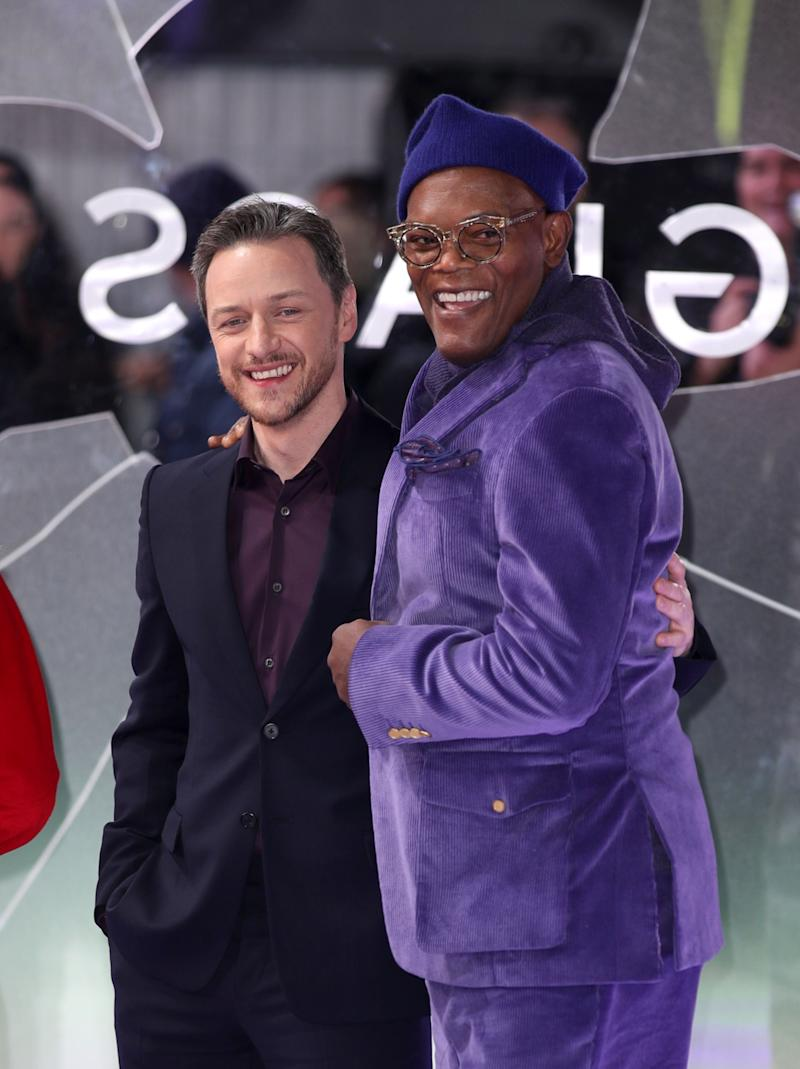 "LONDON, ENGLAND - JANUARY 09: Samuel L Jackson and James McAvoy attend the UK Premiere of ""Glass"" at The Curzon Mayfair on January 09, 2019 in London, England. (Photo by Mike Marsland/ Mike Marsland/WireImage)"