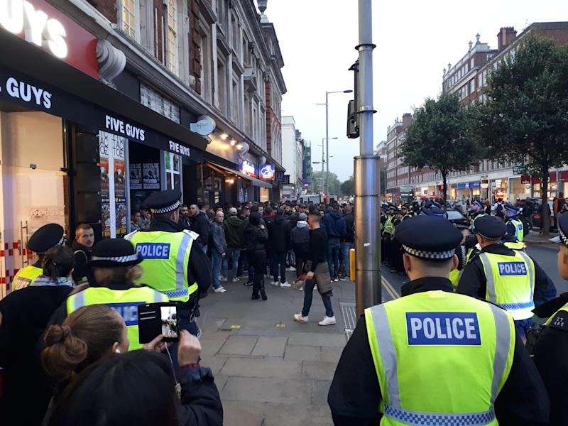 Roma fans clash with police in west London ahead of Champions League match against Chelsea