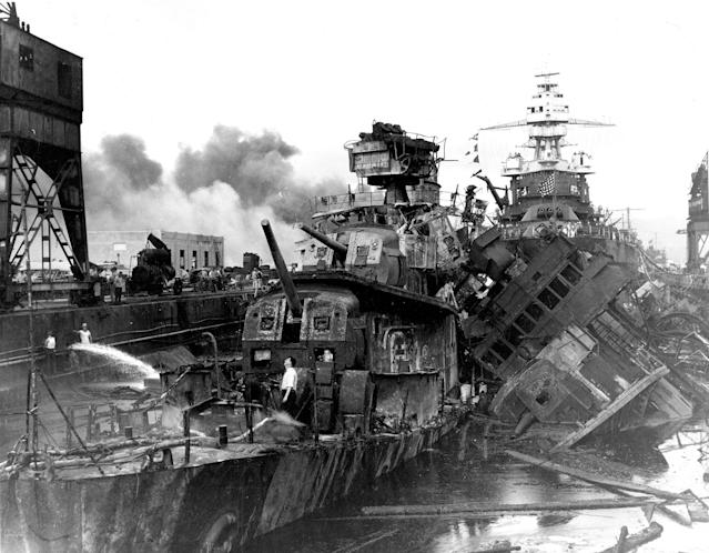 <p>The destroyers USS Downes and USS Cassin lie wrecked in Drydock One ahead of the battleship USS Pennsylvania soon after the end of the Japanese air attack on Pearl Harbor on Dec. 7, 1941. (U.S. Navy/National Archives/Handout via Reuters) </p>