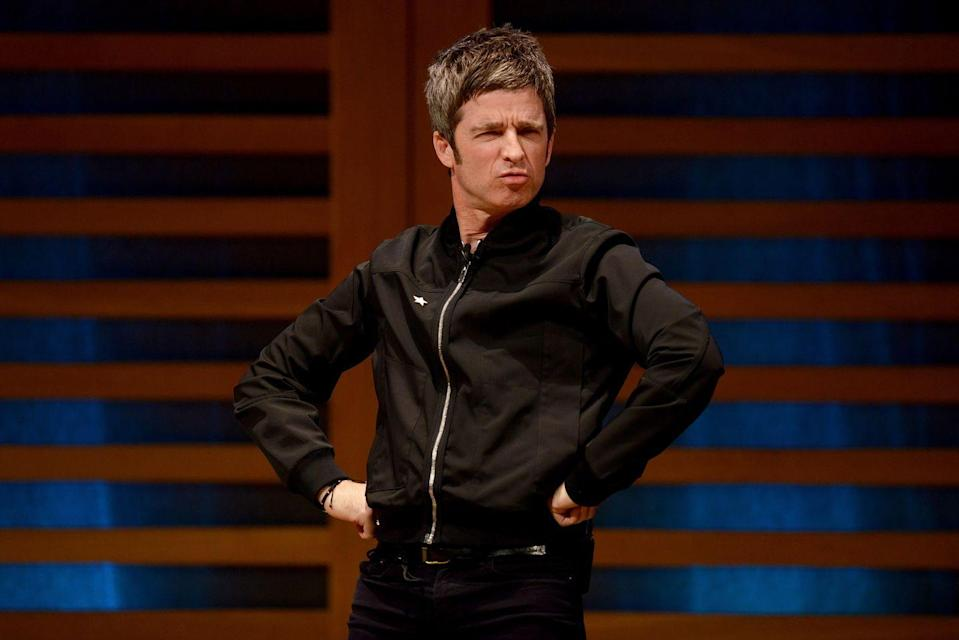 """<p>Noel Gallagher on stage for the launch of his book <a href=""""https://www.amazon.com/Road-Will-There-Where-Going/dp/1788701518/ref=tmm_hrd_swatch_0?_encoding=UTF8&tag=hearstuk-yahoo-21&ascsubtag=%5Bartid%7C1923.g.36859592%5Bsrc%7Cyahoo-uk"""" rel=""""nofollow noopener"""" target=""""_blank"""" data-ylk=""""slk:Any Road Will Get Us There (If We Don't Know Where We're Going)"""" class=""""link rapid-noclick-resp"""">Any Road Will Get Us There (If We Don't Know Where We're Going) </a>at Kings Place on October 23, 2018 in London.</p>"""