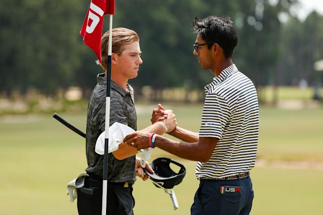 "<div class=""caption""> Augenstein shakes hands with Bhatia after knocking him off in Thursday morning's second-round match. </div> <cite class=""credit"">Copyright USGA/Chris Keane</cite>"