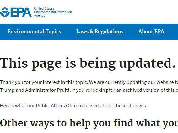 The image which now appears under the Environmental Protection Agency's web page on climate change (EPA/screengrab)