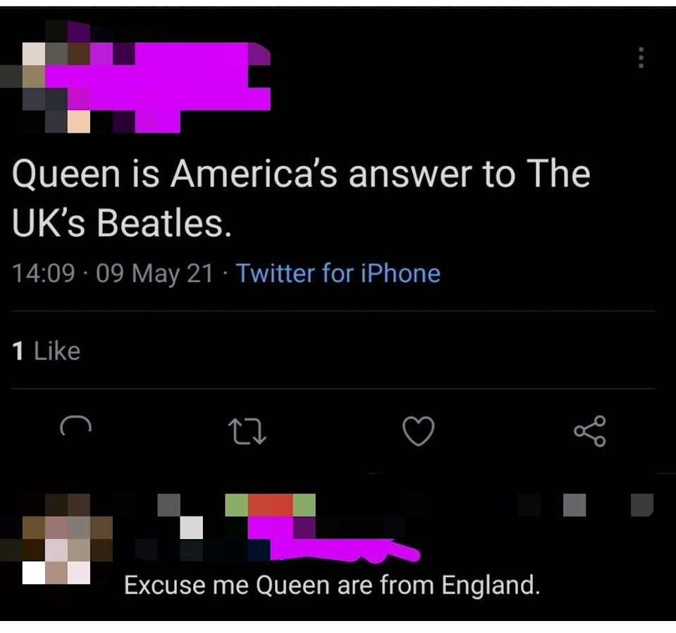 person who thinks Queen is from the USA