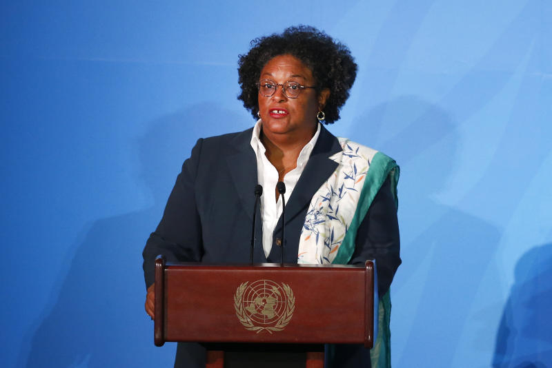 Barbados' Prime Minister Mia Amor Mottley addresses the Climate Action Summit in the United Nations General Assembly, at U.N. headquarters, Monday, Sept. 23, 2019. (AP Photo/Jason DeCrow)