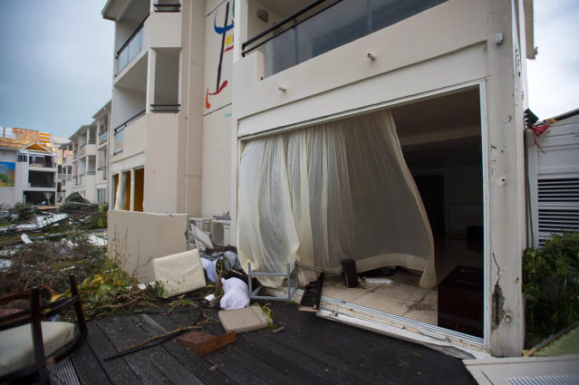 "<p>Damage at the ""Mercure"" hotel in Marigot, on the Bay of Nettle, on the island of Saint-Martin in the northeast Caribbean, after the passage of Hurricane Irma on Sept. 6, 2017. (Photo: Lionel Chamoiseau/AFP/Getty Images) </p>"
