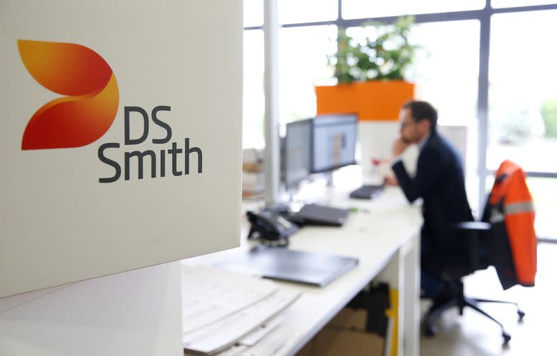 The logo DS Smith is pictured inside the carboard box manufacturing company DS Smith Packaging Atlantique in La Chevroliere
