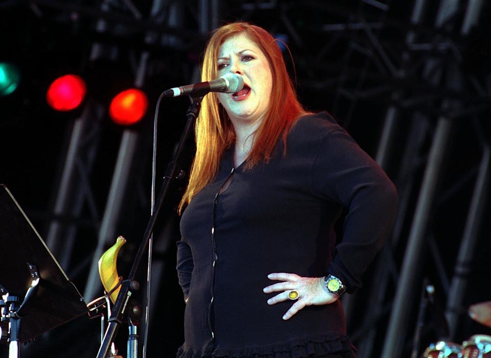 DECEMBER 19th : On this day in 2000 singer Kirsty MacColl was killed after being hit by a speedboat whilst scuba diving in Mexico.  Singer Kirsty MacColl performing on stage at The Fleadh music festival in Finsbury Park, central London. 19/12/2000 Singer Kirsty MacColl, 41, has died in a boating accident in Mexico. 20/01/01: Friends and fans will celebrate her life at a memorial service in London.   (Photo by James Arnold - PA Images/PA Images via Getty Images)