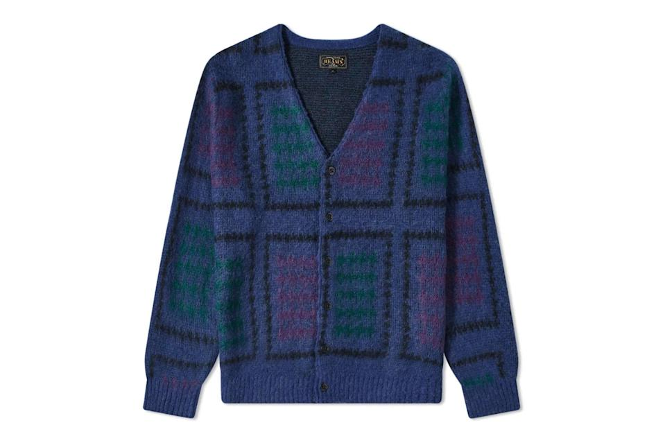 """With so many fellas following Mr. Rogers' and Kurt Cobain's collective lead into the warm embrace of cardigans, you're going to have to work a little harder to stand out in your knitwear.<br> <br> <em>Beams Plus double jacquard cardigan</em> $295, END.. <a href=""""https://www.endclothing.com/us/beams-plus-double-jacquard-cardigan-1115-1340-156-75.html"""" rel=""""nofollow noopener"""" target=""""_blank"""" data-ylk=""""slk:Get it now!"""" class=""""link rapid-noclick-resp"""">Get it now!</a>"""