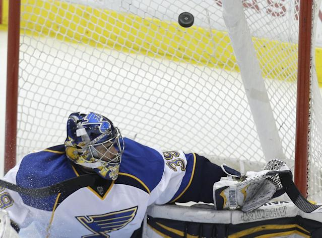 St. Louis Blues goalie Ryan Miller (39) can't stop the goal shot by Dallas Stars Trevor Daley during the second period of an NHL hockey game Friday, April 11, 2014, in Dallas. (AP Photo/LM Otero)