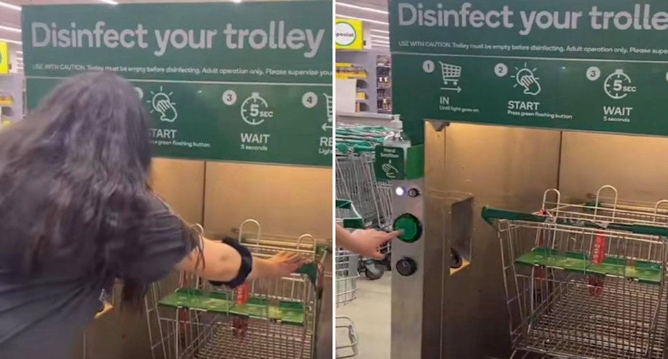 A TikTok video shows woman pushing trolley into a Woolworths disinfection unit. Source: TikTok/@shereenchadoud