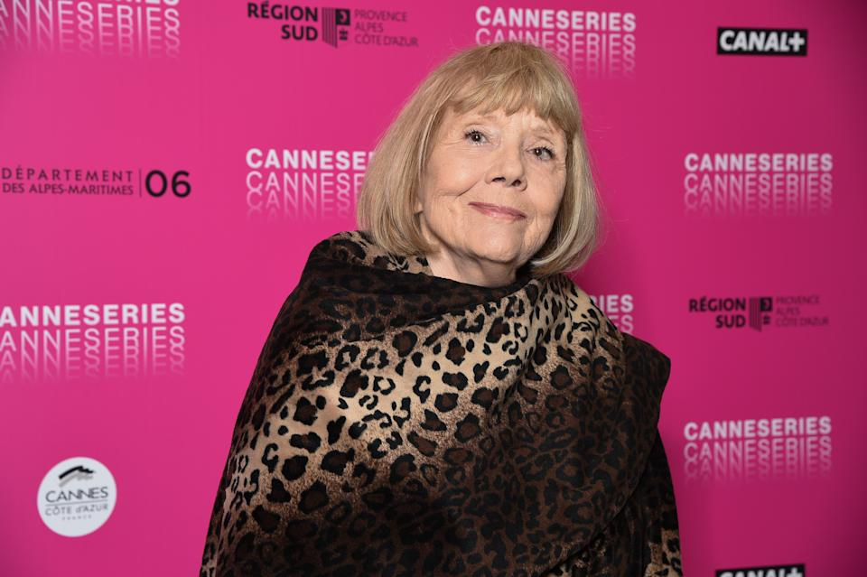 Dame Diana Rigg in Cannes on April 06, 2019. (Photo by Stephane Cardinale - Corbis/Corbis via Getty Images)
