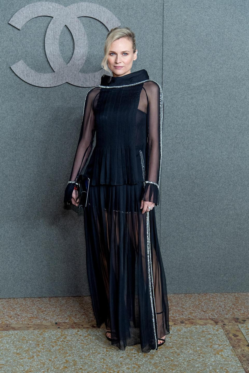 <p>The actress wore a very glamorous semi-sheer look by the French fashion house. <em>[Photo: Getty]</em> </p>