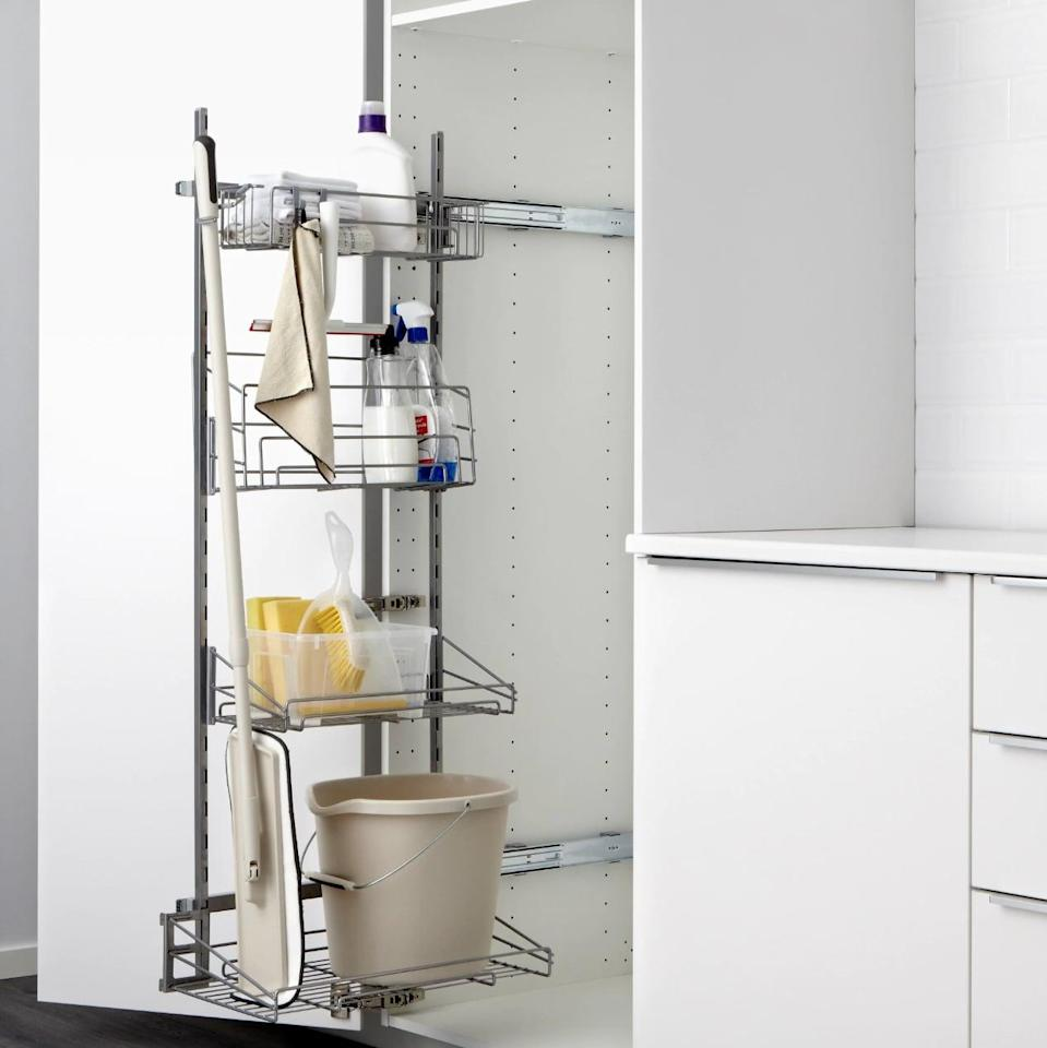 "<p>Keep trash bags, counter cleaners, dish towels, and more on this helpful <a href=""https://www.popsugar.com/buy/Utrusta%20Pull-Out%20Rack%20For%20Cleaning%20Supplies-446969?p_name=Utrusta%20Pull-Out%20Rack%20For%20Cleaning%20Supplies&retailer=ikea.com&price=99&evar1=casa%3Aus&evar9=46151613&evar98=https%3A%2F%2Fwww.popsugar.com%2Fhome%2Fphoto-gallery%2F46151613%2Fimage%2F46152153%2FUtrusta-Pull-Out-Rack-Cleaning-Supplies&list1=shopping%2Cikea%2Corganization%2Ckitchens%2Chome%20shopping&prop13=api&pdata=1"" rel=""nofollow noopener"" target=""_blank"" data-ylk=""slk:Utrusta Pull-Out Rack For Cleaning Supplies"" class=""link rapid-noclick-resp"">Utrusta Pull-Out Rack For Cleaning Supplies</a> ($99).</p>"