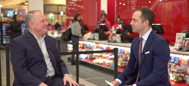 Yahoo Finance editor-at-large and anchor Brian Sozzi speaks with Target's COO John Mulligan (left)
