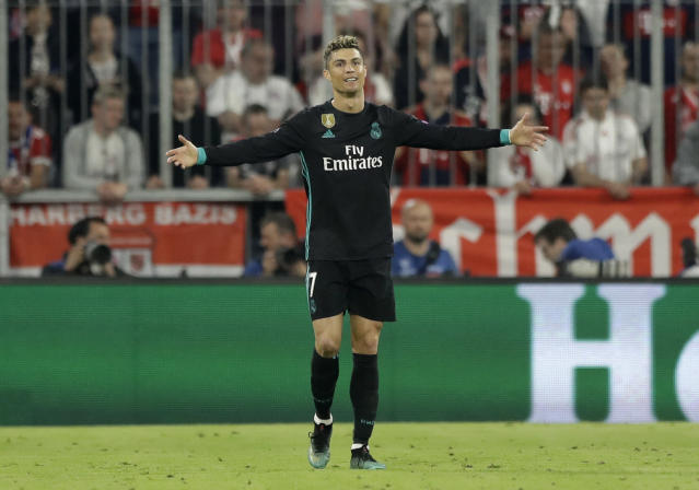 Real Madrid's Cristiano Ronaldo reacts after a disallowed goal during the semifinal first leg soccer match between FC Bayern Munich and Real Madrid at the Allianz Arena stadium in Munich, Germany, Wednesday, April 25, 2018. (AP Photo/Matthias Schrader)