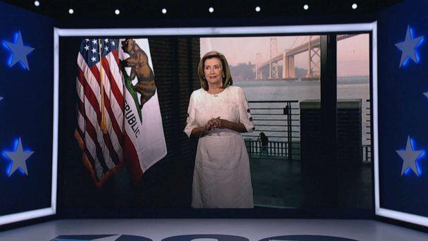 PHOTO: Speaker of the House Nancy Pelosi speaks by video feed during the virtual 2020 Democratic National Convention, Aug. 19 2020. (Democratic National Convention)