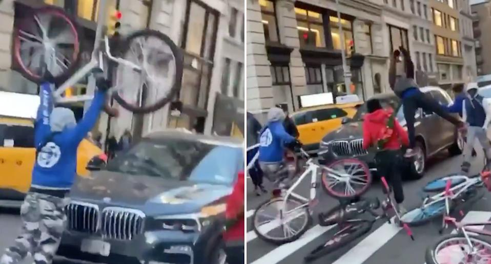 A group of teenagers use bikes to destroy a car in New York City