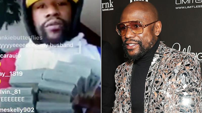 Boxer Floyd Mayweather showed several large wads of cash during an Instagram Live call with NFL wide receiver Antonio Brown, amid economic shutdowns caused by the coronavirus. Pictures: Instagram/@AB/Getty Images